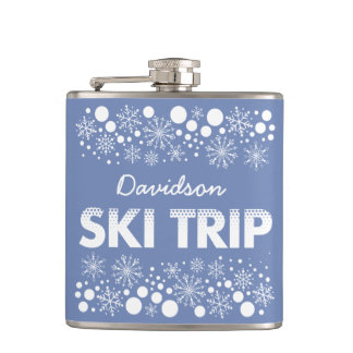 Petaca Frasco azul del viaje del esquí del copo de nieve