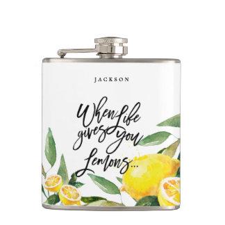 Petaca Frasco bohemio del boda del limón de la acuarela
