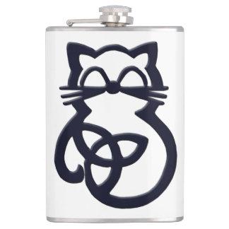 Petaca Frasco céltico del gato del nudo negro de la