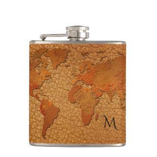 Petaca Frasco de cuero del mapa del mundo de la mirada
