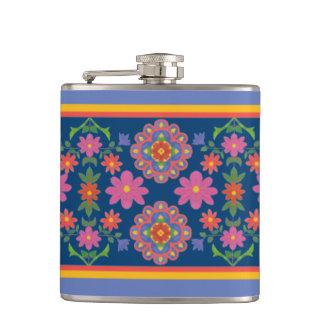 Petaca Frontera floral del modelo de Rangoli en el frasco