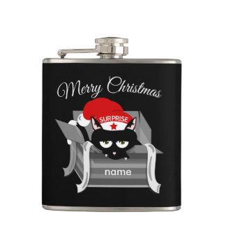 Petaca Gato en Felices Navidad de una caja