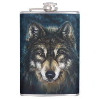 Petaca La cara artística del lobo vinilo de 8 onzas