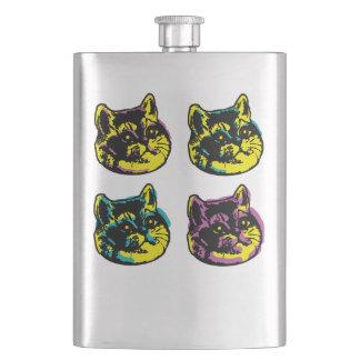 Petaca La respiración pesada de los gatos lindos del arte