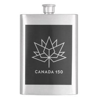 Petaca Logotipo del funcionario de Canadá 150 - blanco y