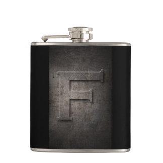 Petaca Metal negro de bronce - frasco del monograma F