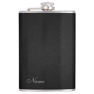 Petaca Mirada de cuero negra elegante personalizada