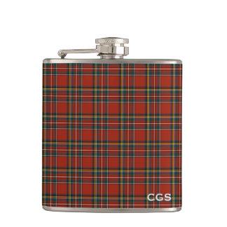 Petaca Monograma escocés rojo de la tela escocesa del