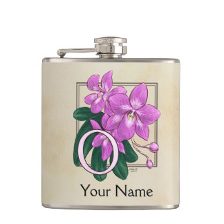 Petaca Monograma floral personalizado orquídea rosada