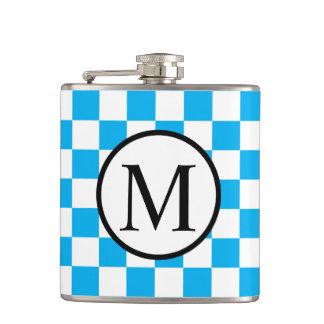 Petaca Monograma simple con el tablero de damas azul