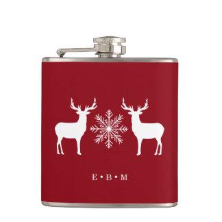 Petaca Navidad con monograma de los ciervos del arbolado