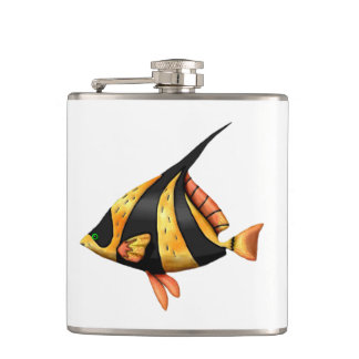 Petaca Negro y pescados tropicales del ángulo del oro