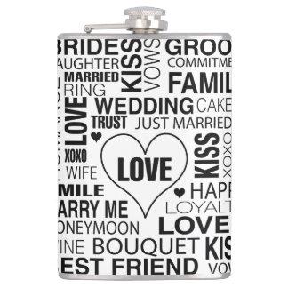 Petaca Novio de las palabras de la boda del regalo del