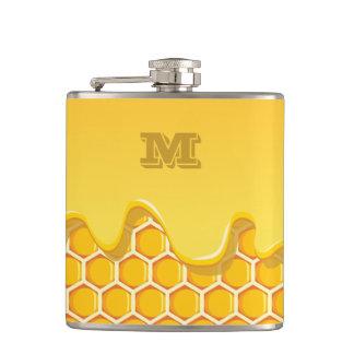 Petaca Serie del monograma: Panal con el goteo de la miel
