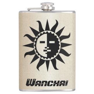 Petaca Su nombre en el frasco negro del oro de Sun