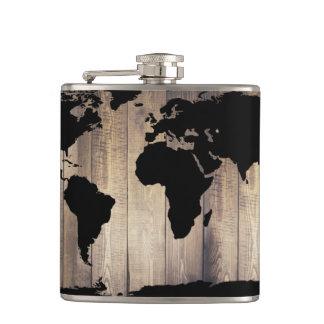 Petaca Tablones de madera rústicos del mapa del mundo