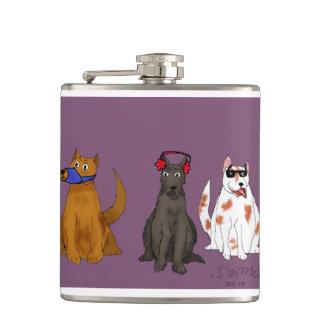 """Petaca """"Tres perros obedecen"""" el frasco envuelto vinilo"""