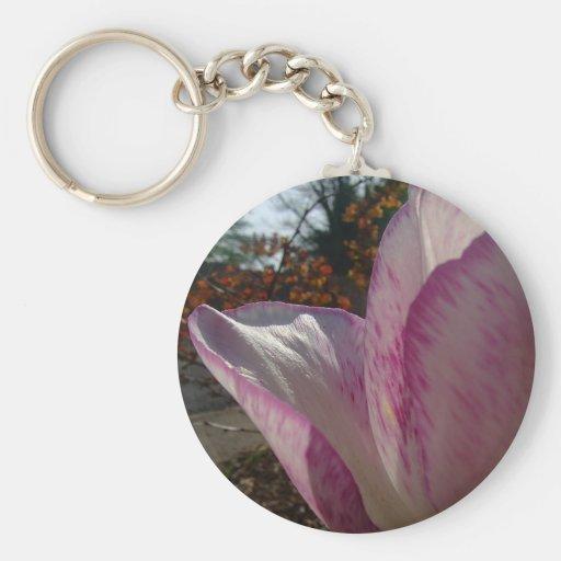 Pétalos del tulipán de color de malva llavero personalizado