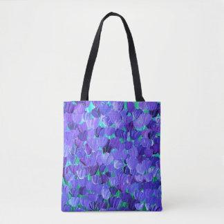 Pétalos púrpuras bolsa de tela