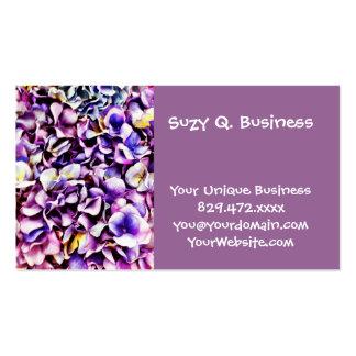 Pétalos púrpuras de la flor del Hydrangea de la Tarjetas De Visita