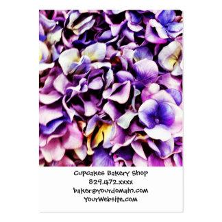 Pétalos púrpuras de la flor del Hydrangea de la Tarjetas De Visita Grandes