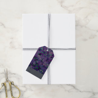 Pétalos púrpuras etiquetas para regalos