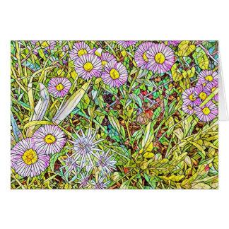 Pétalos violetas salvajes tarjeta de felicitación