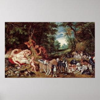 Peter Paul Rubens - sátiros y perros de las ninfas Impresiones