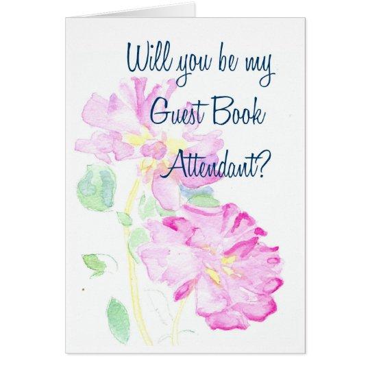 Petición acompañante del libro de visitas rosado tarjeta de felicitación