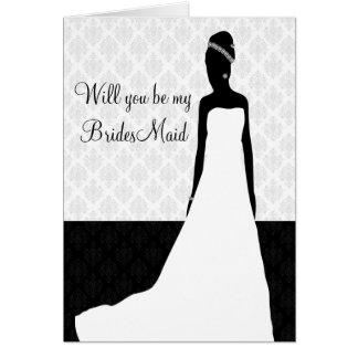 Petición de la dama de honor tarjeta pequeña