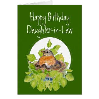 Petirrojo de la nuera del feliz cumpleaños en jera tarjeta de felicitación