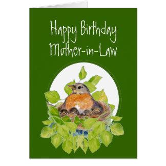 Petirrojo de la suegra del feliz cumpleaños en tarjeta de felicitación