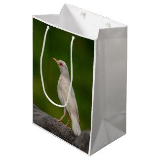 Petirrojo del albino en punto de la corona bolsa de regalo mediana