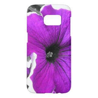Petunias blancos y negros teñidas púrpura funda samsung galaxy s7