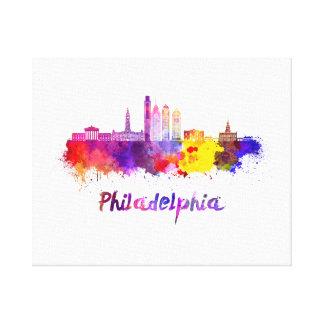 Philadelphia V2 skyline in watercolor Lienzo