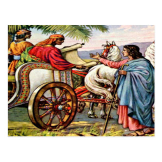 Philip y el hombre en una postal del carro