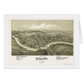 Philippi, mapa panorámico de WV - 1897 Tarjetón