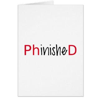 Phinished, arte de la palabra, diseño del texto tarjeta
