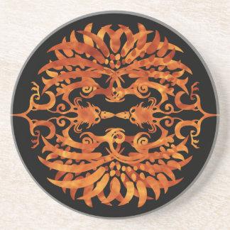 Phoenix tribal llameante posavasos de arenisca