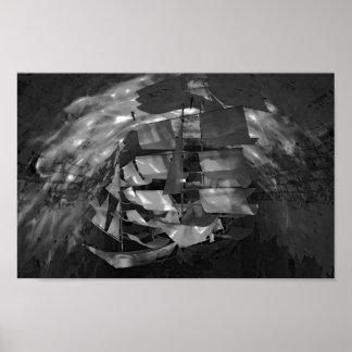 Phogograph negro y blanco del velero modelo póster