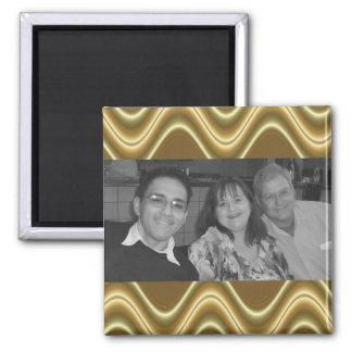 photoframe de la onda del oro imán cuadrado