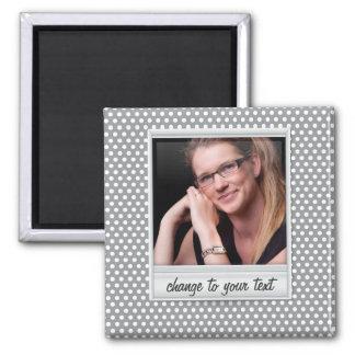 photoframe en el polkadot blanco y gris imanes