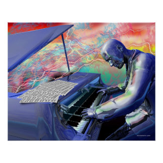 Piano azul póster