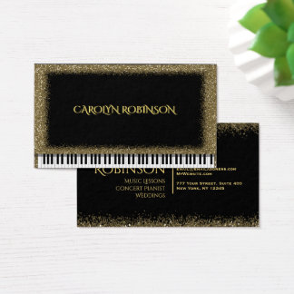 Piano del brillo del oro tarjeta de visita