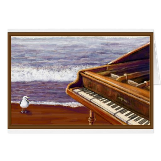 Piano en una playa tarjeton