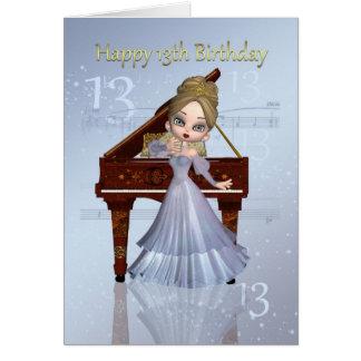 Piano y décimotercero tarjeta de cumpleaños de la