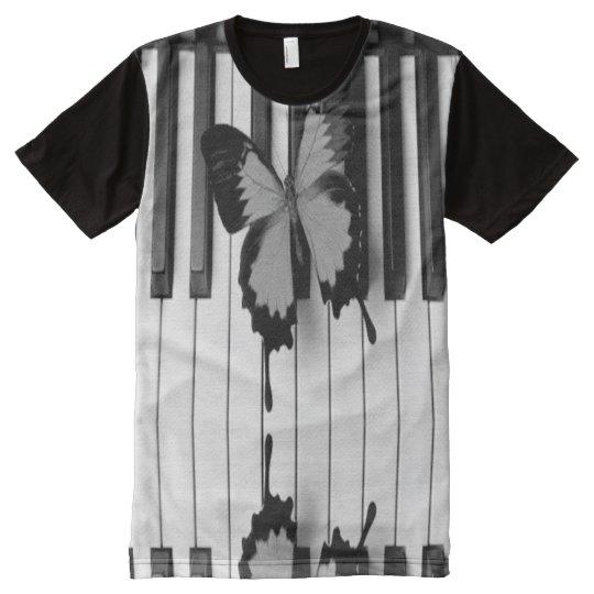 piano y mariposa camiseta con estampado integral