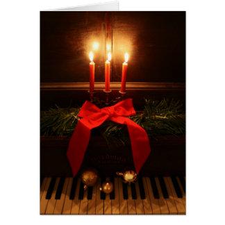 Piano y velas tarjeta