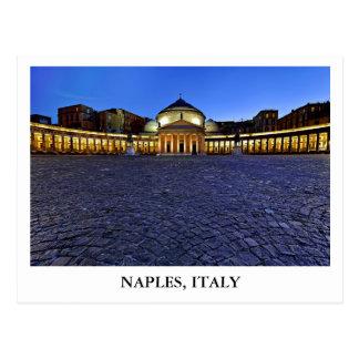 Piazza del Plebiscito en Nápoles, Italia Postal