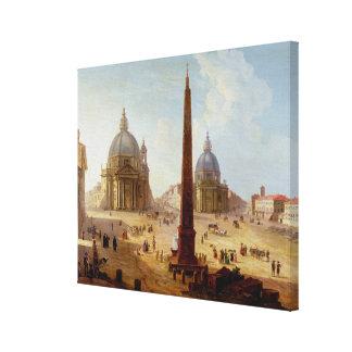 Piazza del Popolo, Roma (aceite en lona) Lona Envuelta Para Galerias